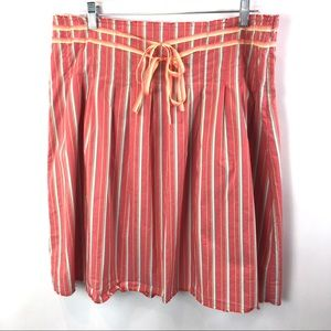 Old Navy Skirt Coral Stripe Cotton Blend Lined 14